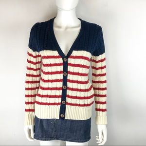 Tommy Hilfiger Red White & Blue Striped Cardigan